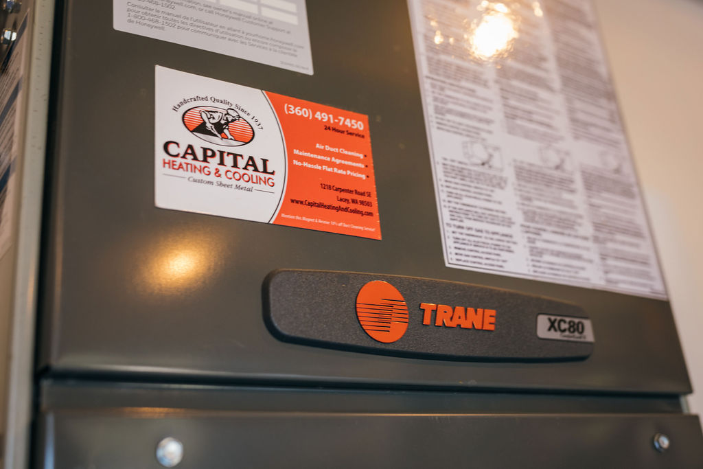 Trane HVAC unit system installed by Capital Heating and Cooling.